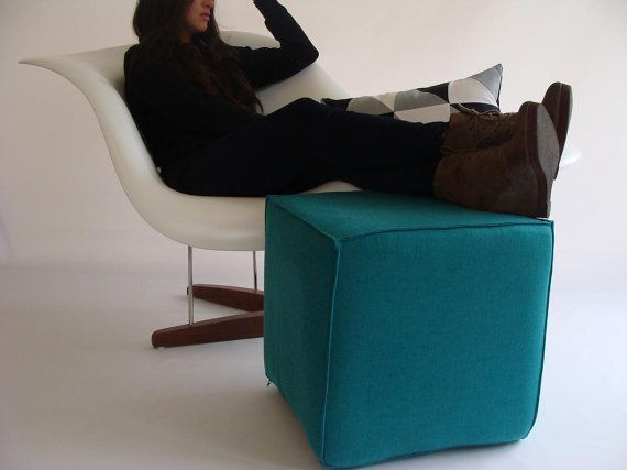 Ottoman/Eclectic Pouf/ Minimalistic /Linen/Teal /Modern Pouf / Sturdy Seating/ Unique Side table/ Foot Stool /Zigzag Studio Design