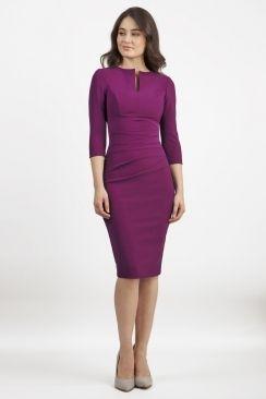 Lydia Three Quarter Plain Sleeve Dress