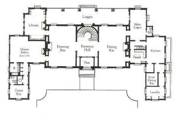 Classical symetrical palladian house plan traditional for Palladian house plans