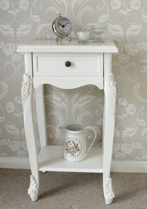 Cream Bedside Tables: Cream Bedside Table One Drawer Shelf Ornate Vintage Chic