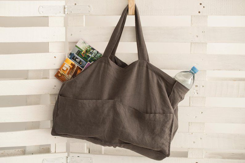 Book Bag Shopping Bag Reusable Shopping Bag Linen Over the Shoulder Market Tote Crossbody Market bag Washable Grocery Bag Beach Tote
