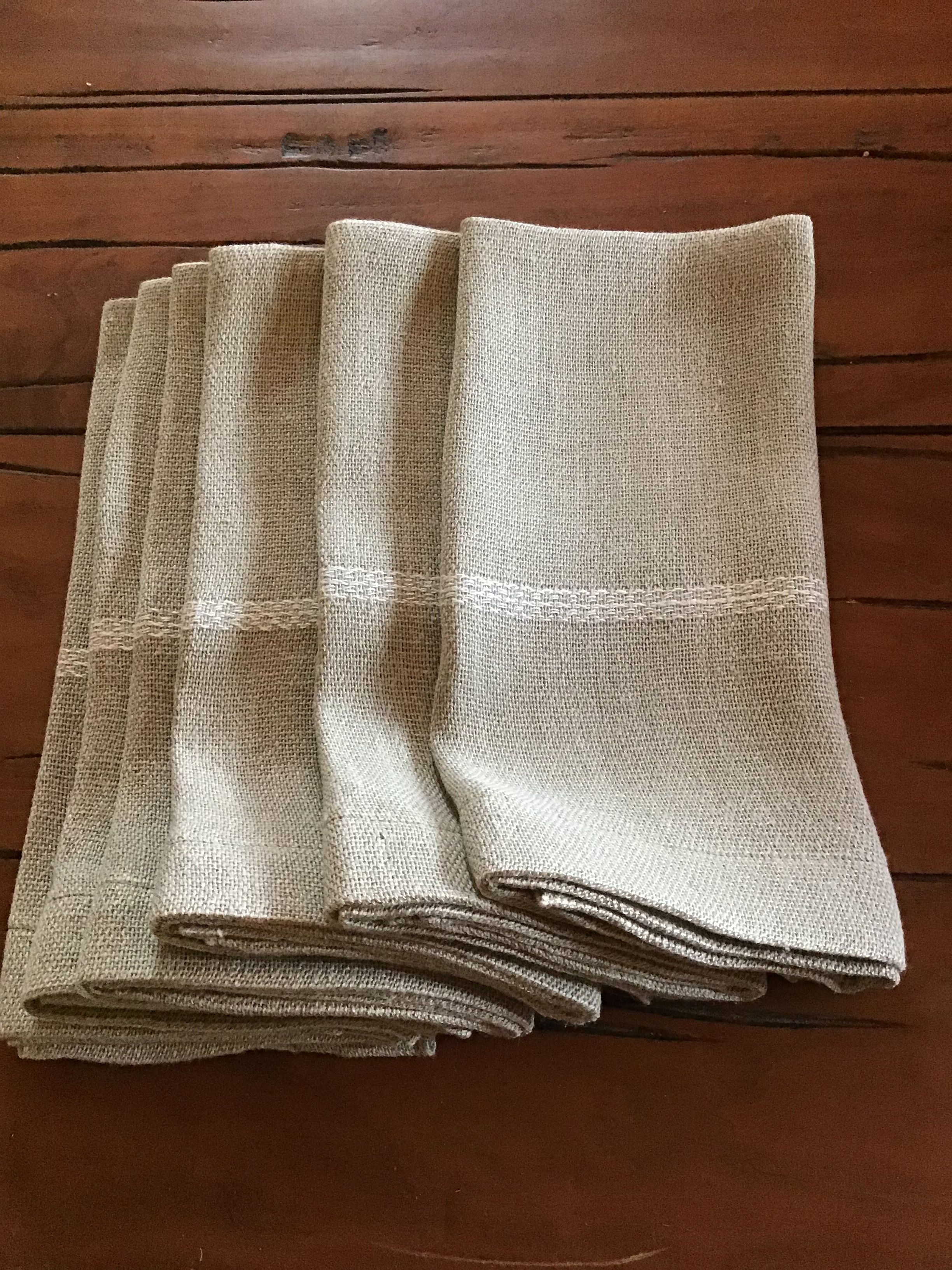 Normandy Linen Napkins Handwoven In Usa By Tammy Eigeman Thompson Napkin Set Of 2 In Taupe With A With White Strip Hand Weaving Linen Napkins Napkins Set
