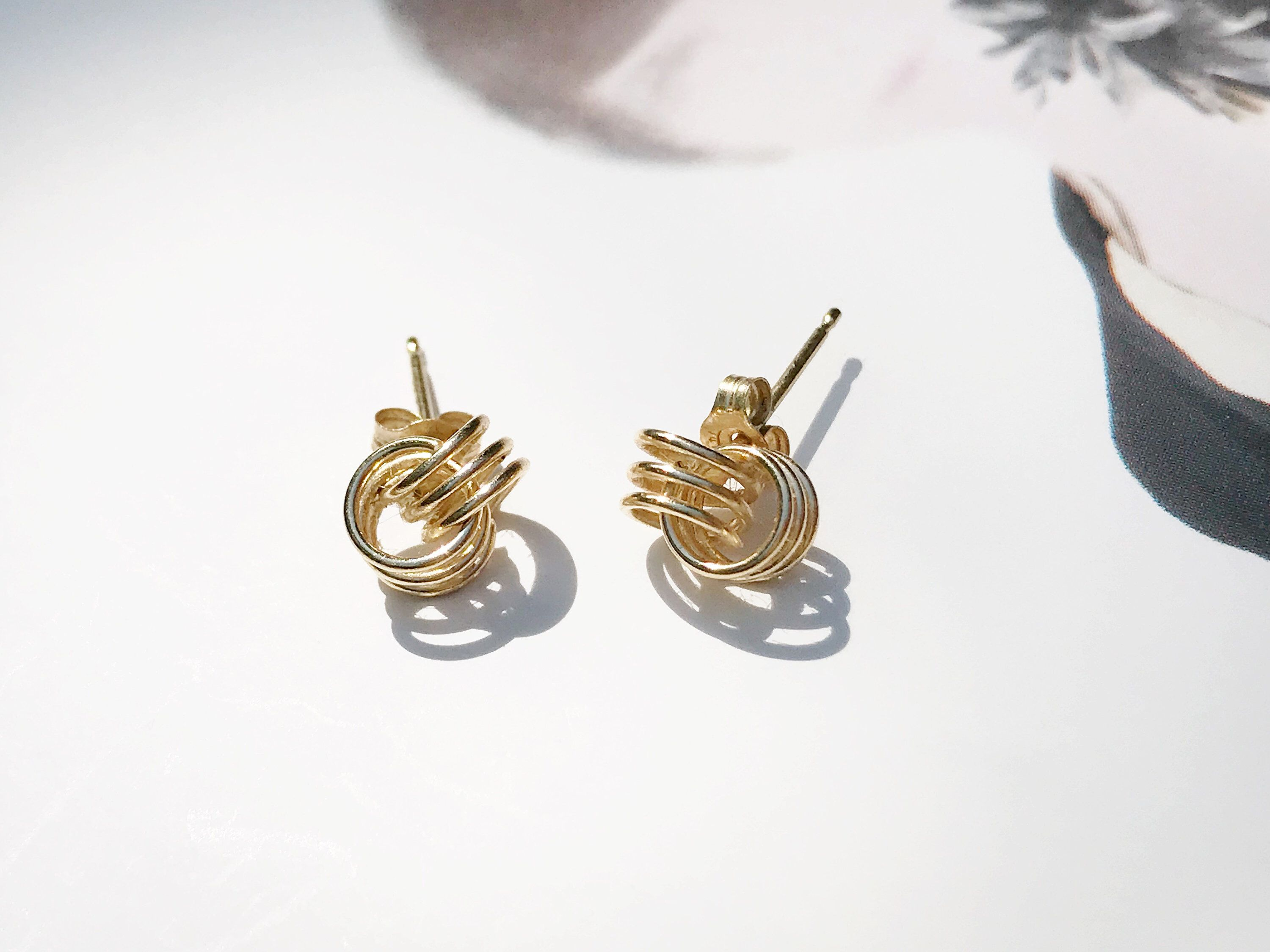 made dreki britain designer in handmade sea yellow deki under spiral collections small wave artisan gold studs stud polished jewellery