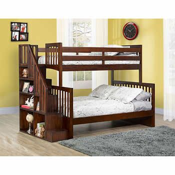 Zachary Twin Over Double Bunk Bed With Universal Staircase Krovat