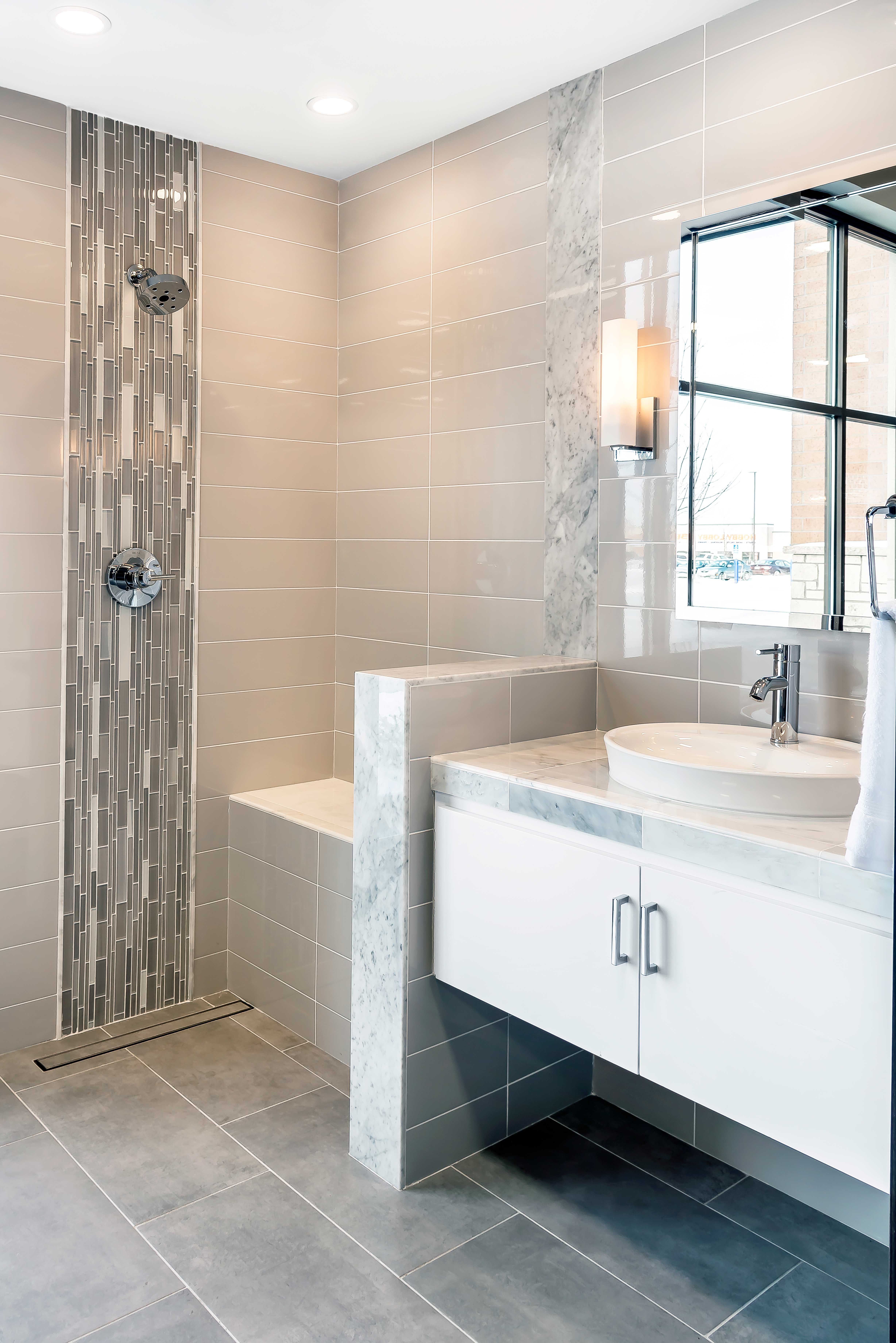 Feature  blend of frosted and polished pieces for varied depth texture dimension with this bathroom backsplash mosaic tile smokey glass ble  also