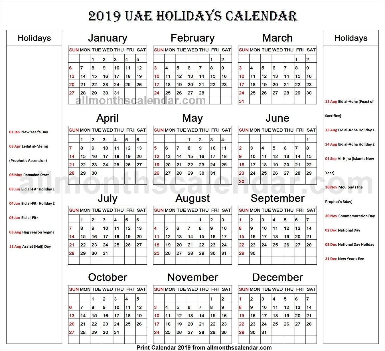 United Arab Emirates Holiday List 2019 Calendar Holiday List