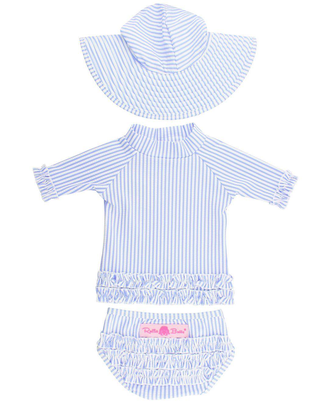 RuffleButts Girls Periwinkle Blue Seersucker Rash Guard   Swim Hat Set -  Periwinkle Blue Seersucker - bae2416b497e