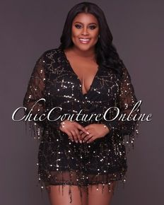 Callista CURVACEOUS Black Gold Flowing Sequins Romper 56808acb3