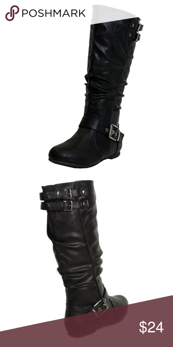 b3525187048 Slouched Under Knee High Mid-Calf Buckle Boot BLK Top Moda Night-76 Women s