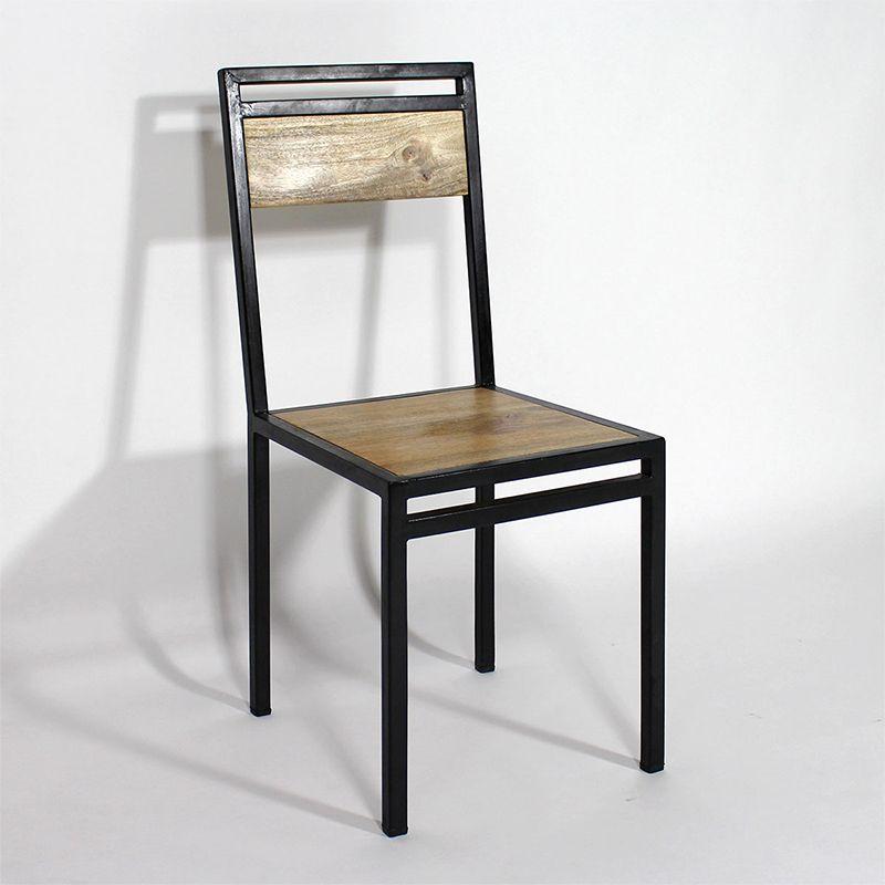 chaise industrielle m tal et bois de manguier sillas hierro y muebles industriales. Black Bedroom Furniture Sets. Home Design Ideas