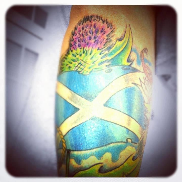 Scottish Flag Tattoo Ideas: Scotland Tattoo ... Scottish Thistle With Scottish Flag