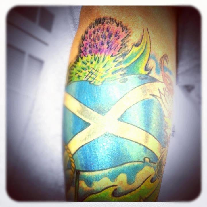 Scottish Flag Tattoos: Scotland Tattoo ... Scottish Thistle With Scottish Flag