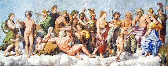 Council of the Olympian Gods God Goddesses Apollo Zeus Hera ...