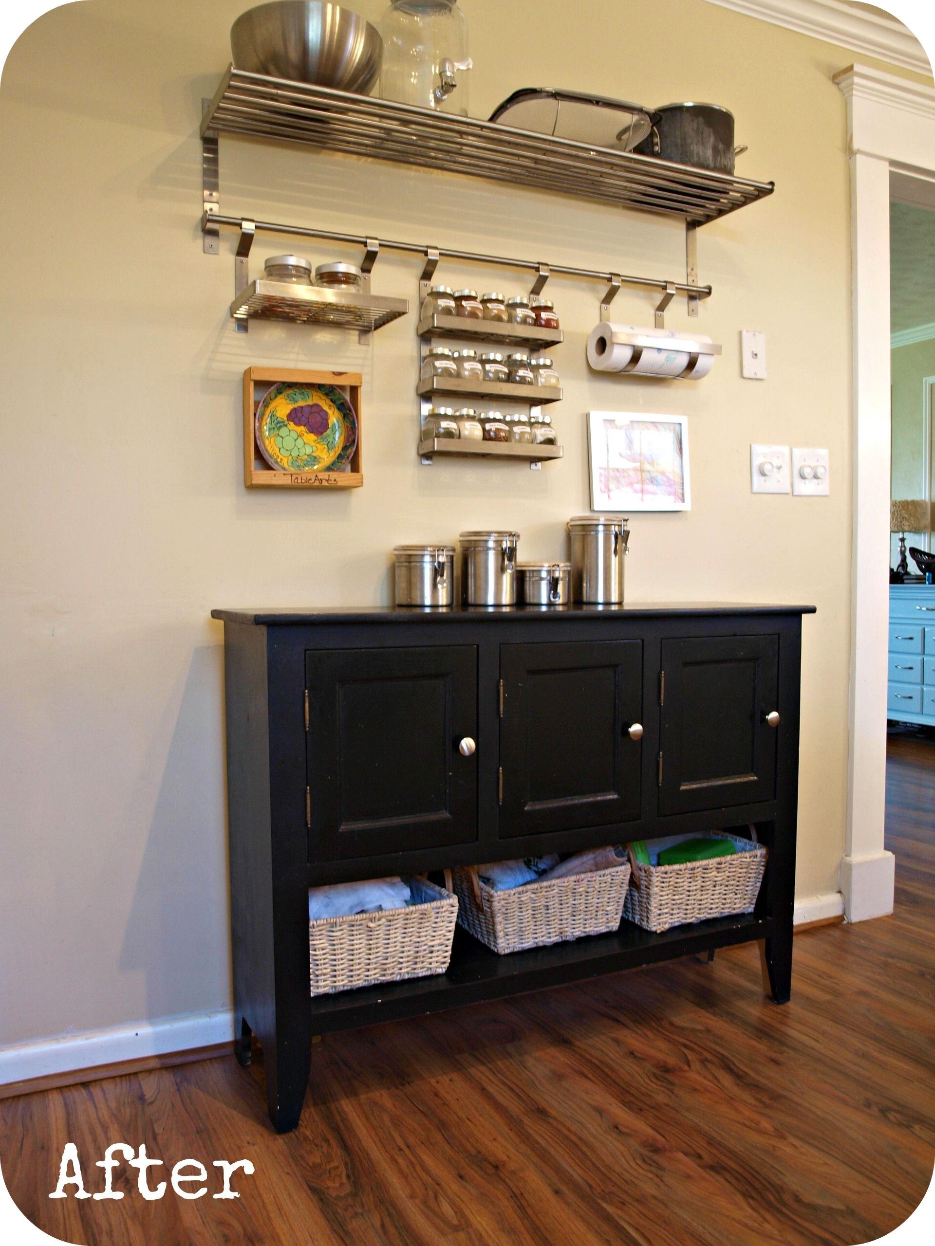 black kicthen buffet with Ikea wall unit | kitchens. | Pinterest