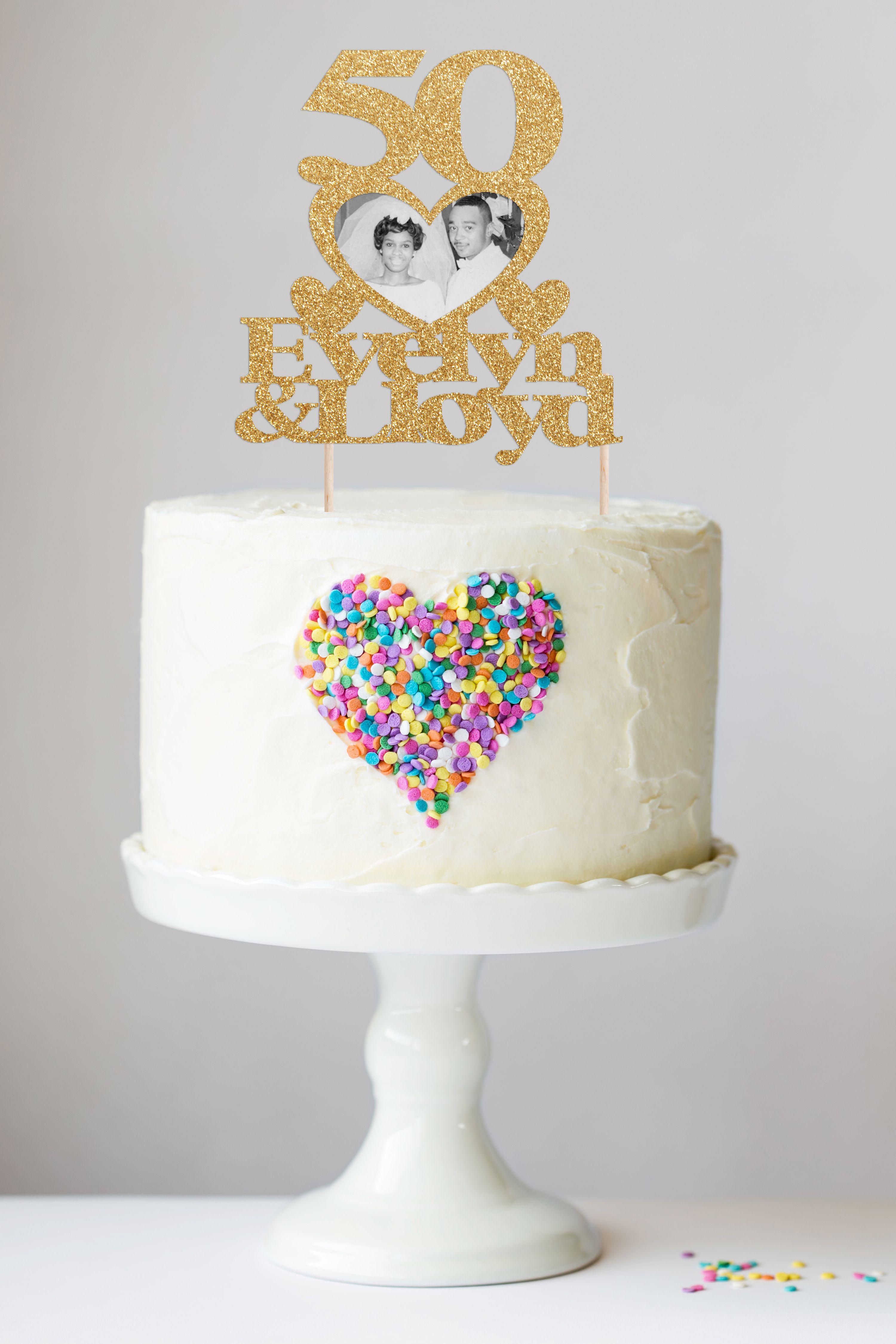 50th Anniversary Cake Topper, Custom Anniversary Cake