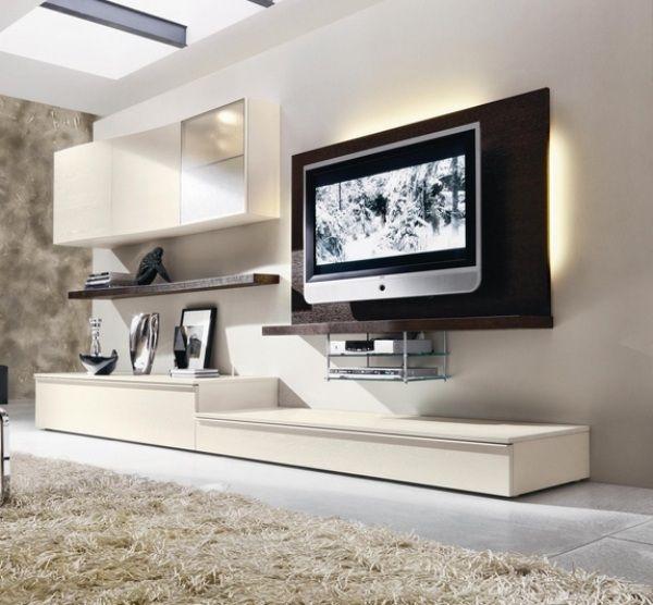 wohnzimmer-trendiges design-weiße wohnwand-grifflose fronten, Mobel ideea