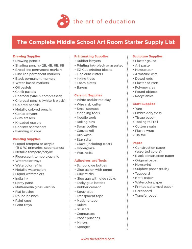 A Complete List Of Supplies For Your New Art Room Elementary Art
