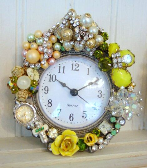 vintage jewelry altered art clock.