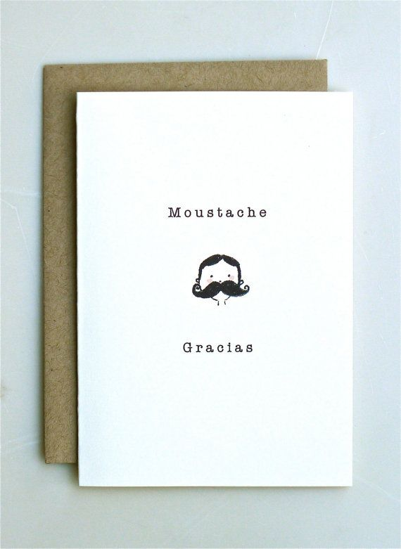 Moustache Gracias Thank You Card Handmade Paper Goods Wedding Funny