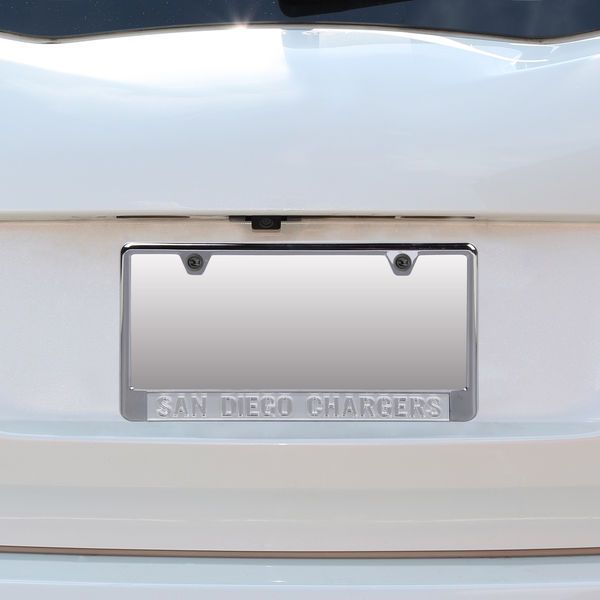 San Diego Chargers Small Over Large Silver Matte License Plate Frame ...
