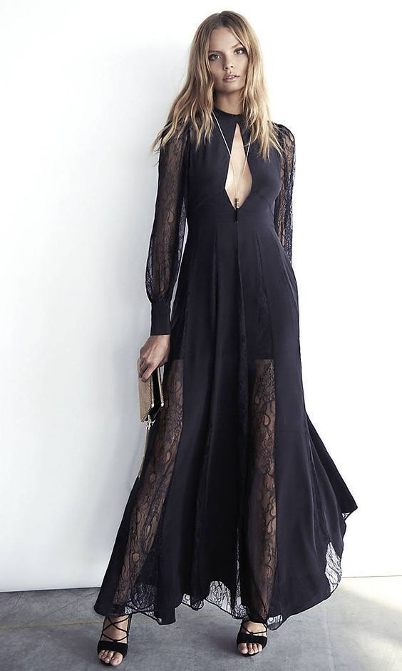 NWT SOLDOUT EXPRESS EDITION lace inset silk maxi dress 6 s small  #Express #Maxi #Formal