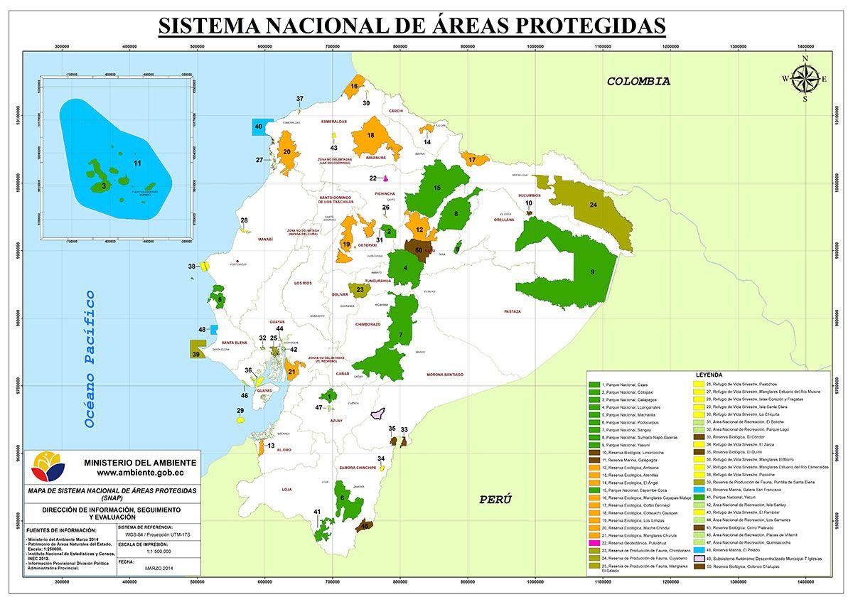 El Ecuador El 19 De Su Territorio Es Considerado Como área Protegida Ecuador Map