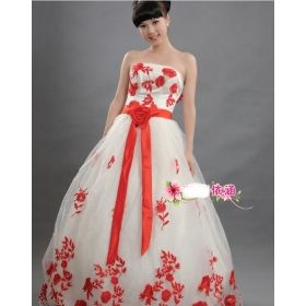 Buy Han Wedding Dress With Red Roses Chest Color Marriage