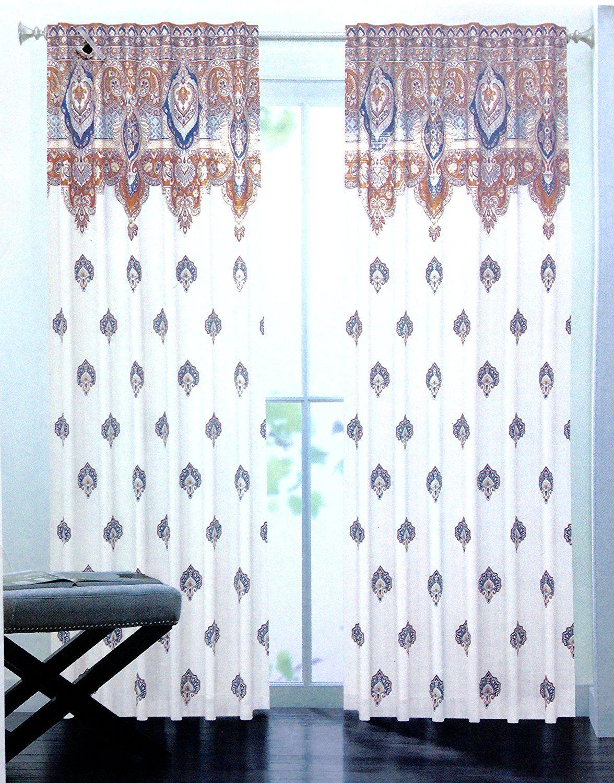 Amazon Com Hillcrest Moroccan Medallions Boho Chic Window Curtain