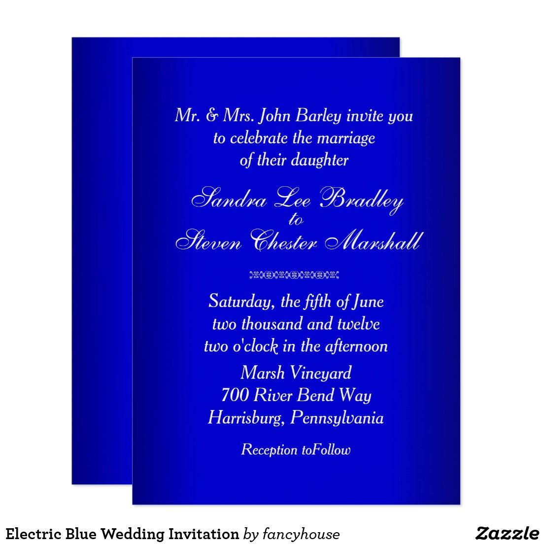 Electric Blue Wedding Invitation | Blue Wedding | Pinterest ...