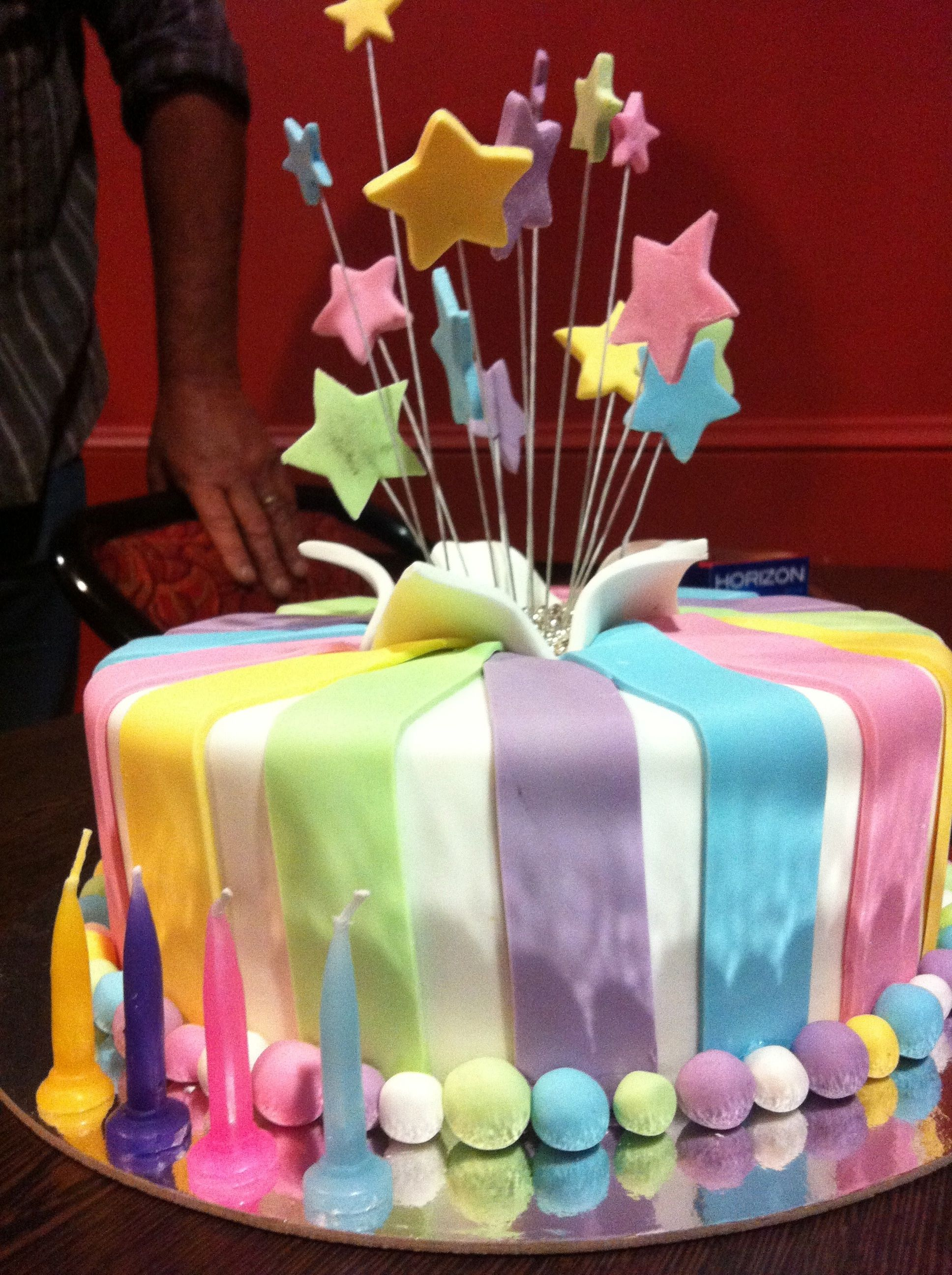 Colorful Fondant Candle Birthday Cake - CakeCentral.com