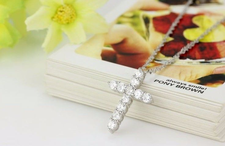 Collier Femme New Fashion 925 sterling silver cross Necklaces & Pendants Collares for Women men Mujer Accessories Jewelry 2