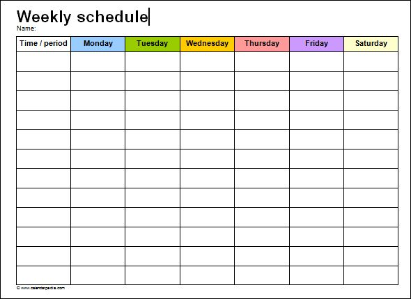 Weekly Schedule Template Word  Printables    Schedule