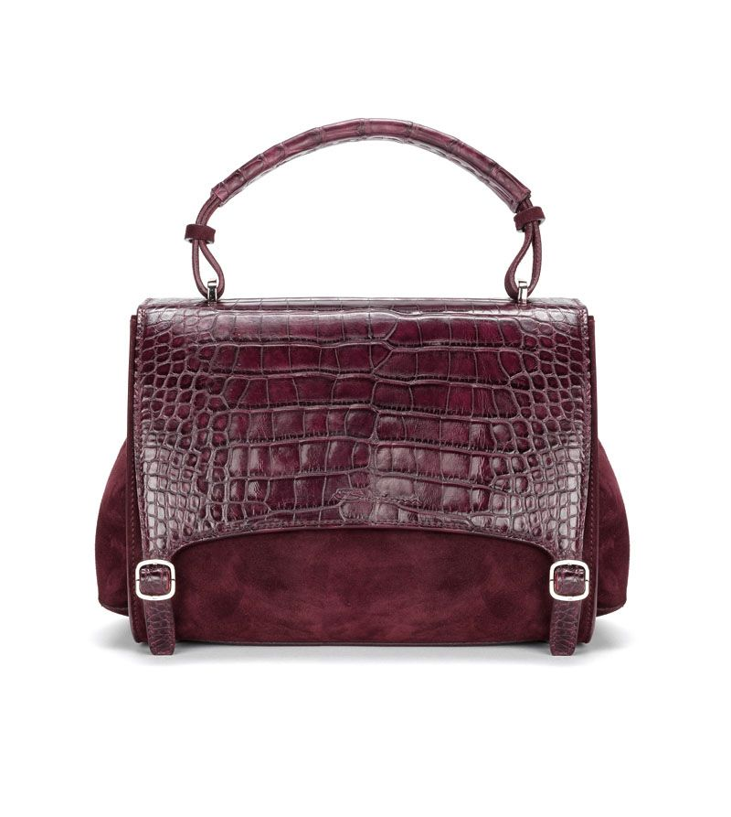 Santoni | Small hand #bag in suede, crocodile flap with a #doublebuckle. #1 #Santoni #Santonishoes #FW1516