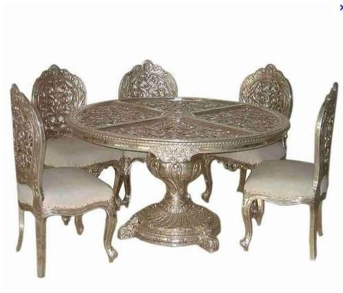 Royal Indian Dining Table Round Table 6 Seater Silver Art
