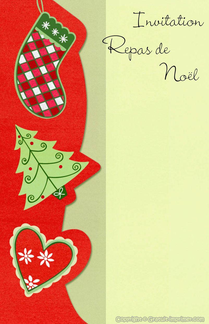 Carte invitation de noel gratuite a imprimer pour repas de reveillon avec sapin chaussette de - Sapin de noel a imprimer ...