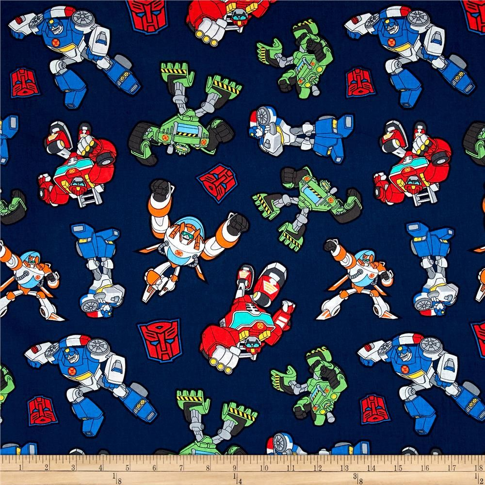 Transformers Generations Classic Transformer White Cotton Fabric by the Yard