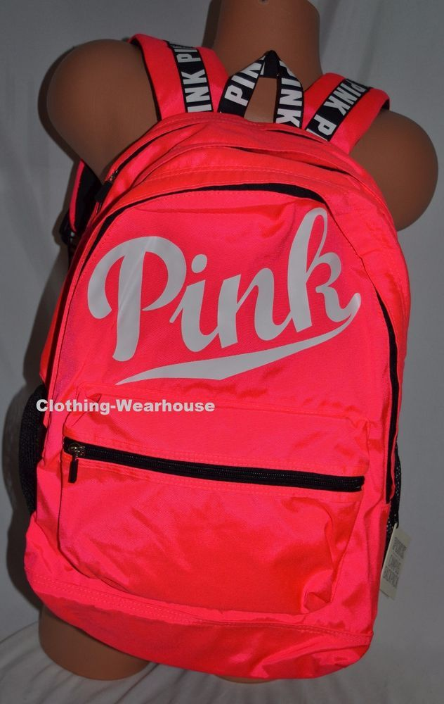 20dc8874b5 Victoria s Secret PINK Backpack Campus Bookbag Neon Black White Large  School Bag