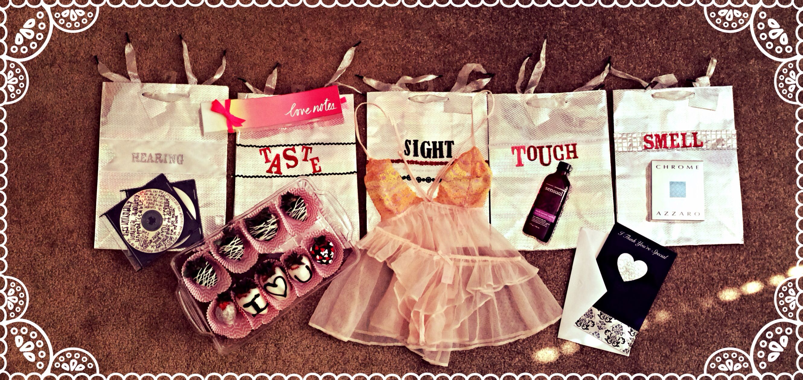 Five senses Valentines day present for my boyfriend! Perfect way to make you and him happy(;