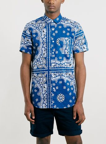 bde2675e3f67 Blue Bandana Print Short Sleeve Shirt