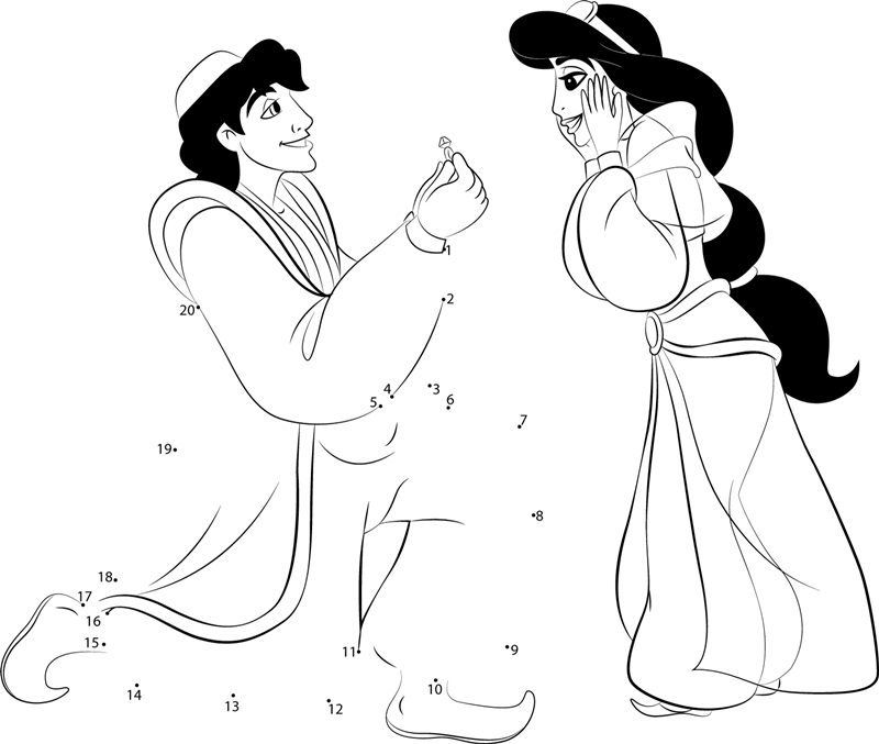 Aladdin Propose Princess Jasmine dot to dot printable
