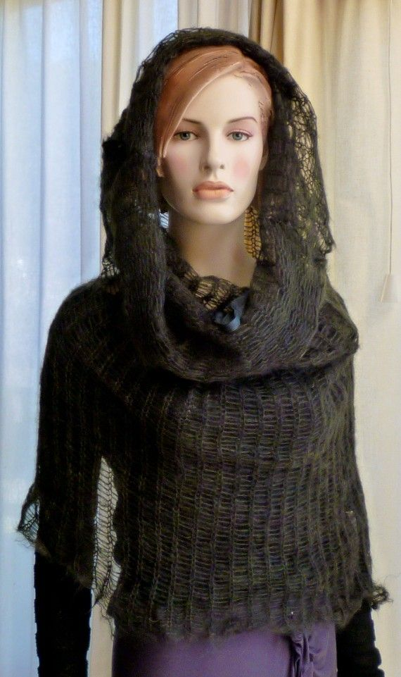 Knit Capelet Hoodie Cowl Poncho Forest Green by MurielleKnitwear