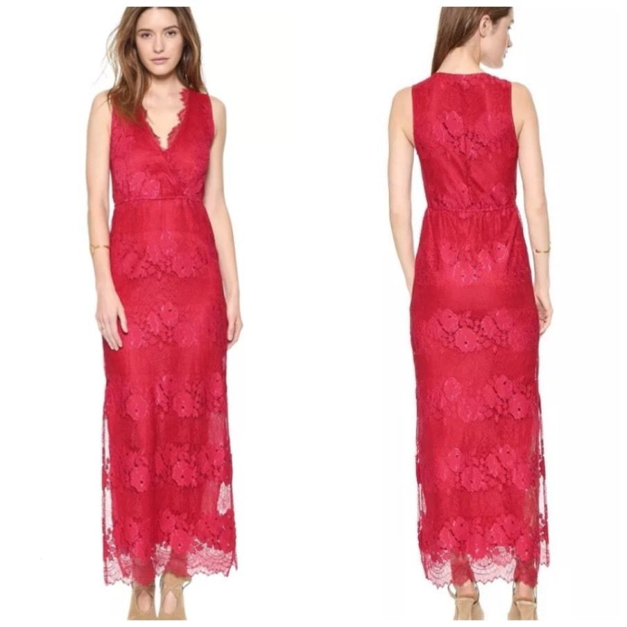 Twelfth street by cynthia vincent long red lace maxi dress sz s