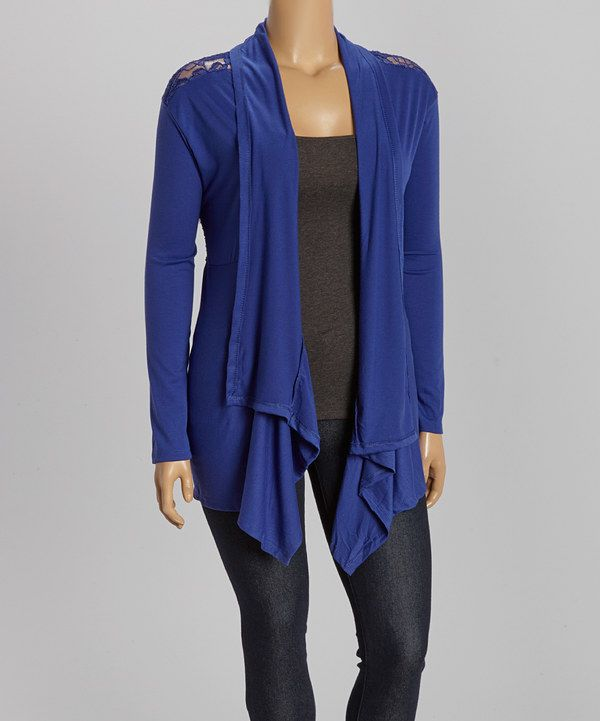 Look at this Royal Blue Lace-Back Open Cardigan - Plus on #zulily today!