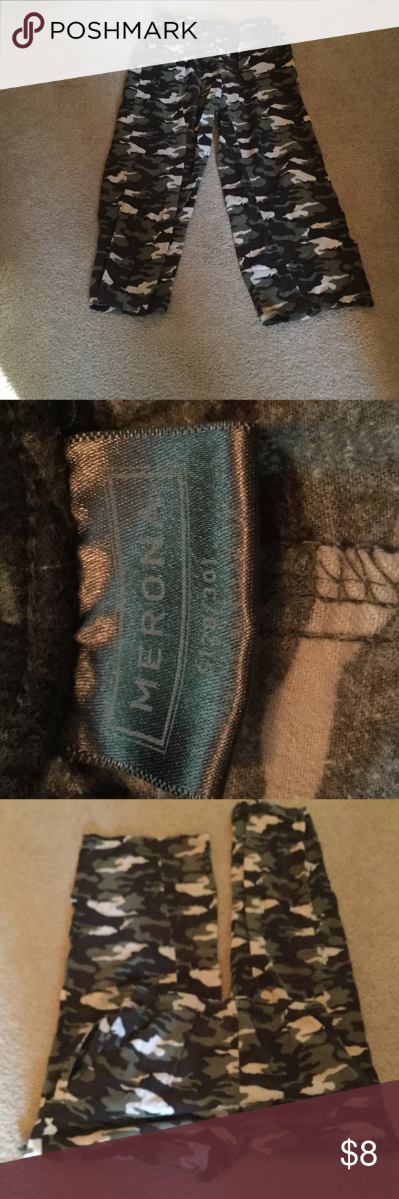 Merona Men's Sleep Pants Camo size 28/30 flannel sleep pants.  100% cotton.  Elastic waist with drawstring.  Good condition. Merona Pants