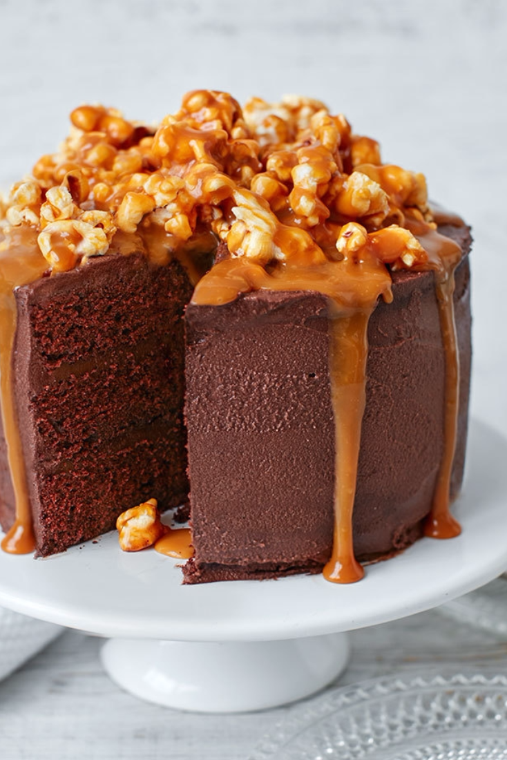 Excellent Chocolate Popcorn And Salted Caramel Cake Recipe Salted Personalised Birthday Cards Paralily Jamesorg