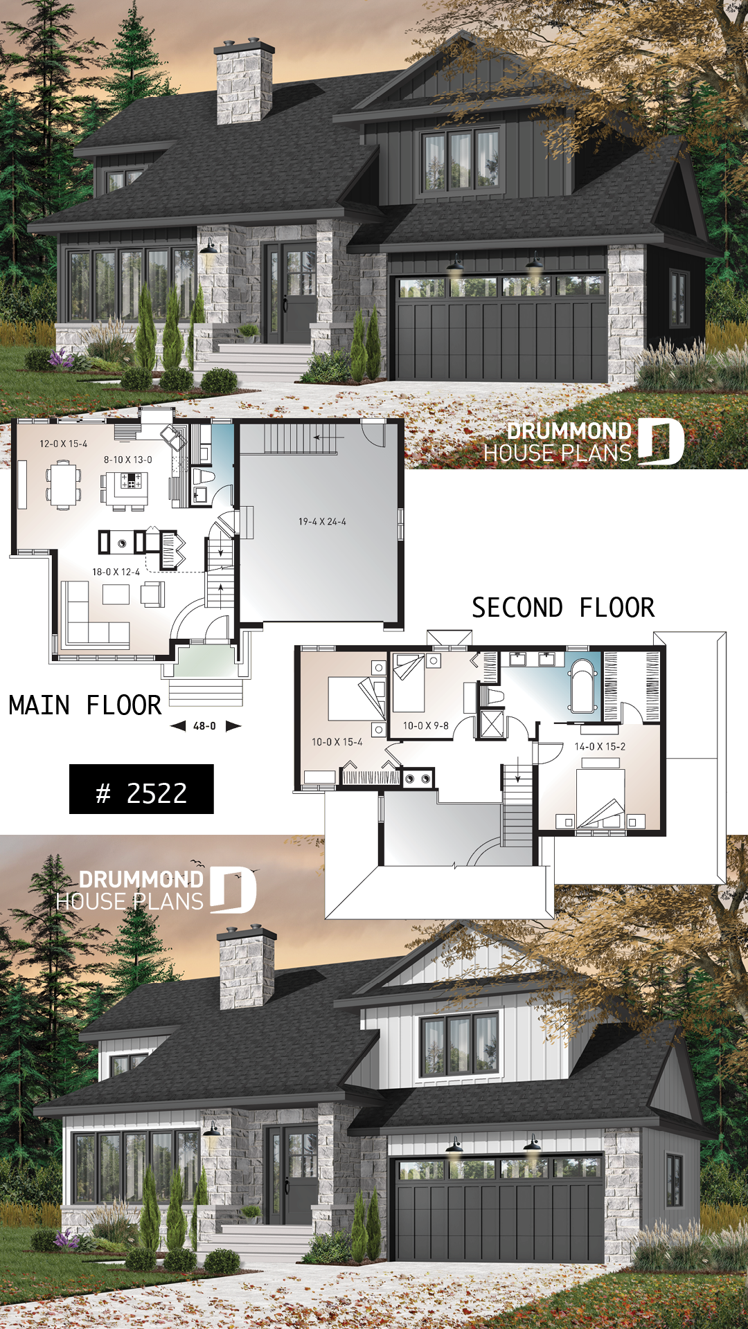Discover the plan 2522 Dennison which will please you for its 3 bedrooms and for its Craftsman Northwest styles