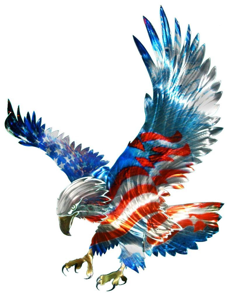f1356aff7a6e New Large AMERICAN FLAG   BALD EAGLE METAL WALL ART Patriotic Decor ...