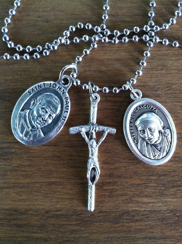 St mother teresa of calcutta st john paul ii and papal crucifix st mother teresa of calcutta st john paul ii and papal crucifix holy medal necklace mozeypictures Gallery