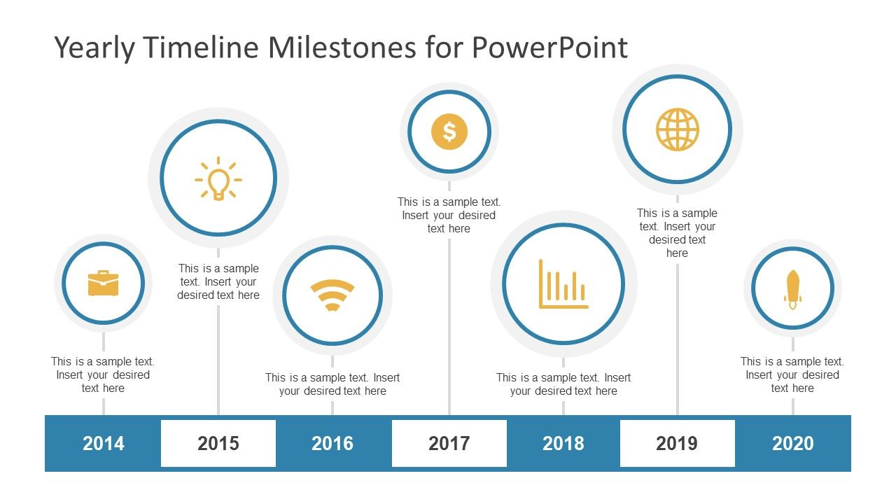 Yearly Timeline Milestones For Powerpoint  Timeline Yearly And