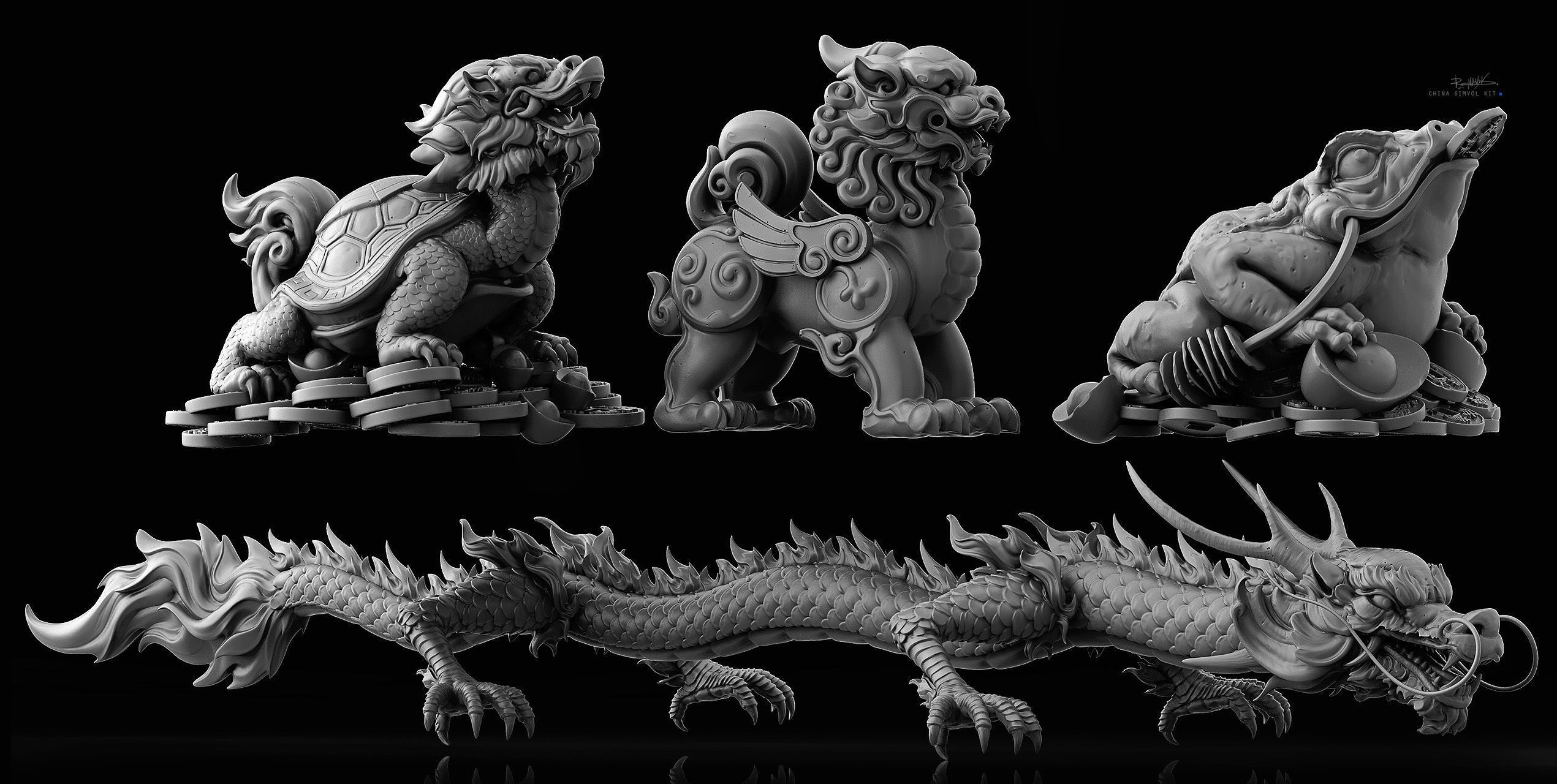 Chinese symbols kit 3D model Chinese symbols, Props